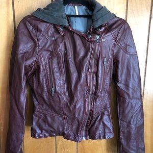 Free People vegan leather jacket with hood